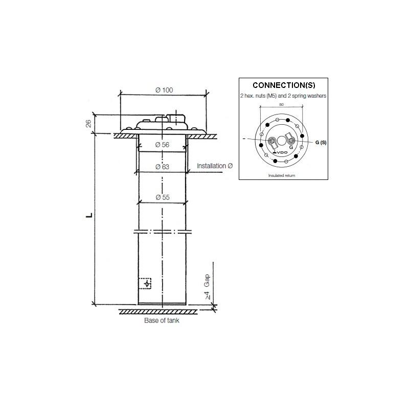 vdo kitas wiring diagram vdo heavy duty   80mm tubular sender 846mm  vdo heavy duty   80mm tubular sender 846mm