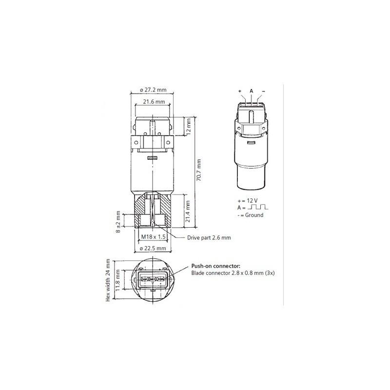 VDO Hall toeren - snelheid sensor - 5.000 RPM - M22