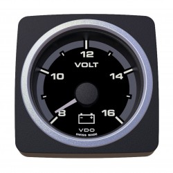 VDO AcquaLink Voltmeter 8-16V Black 52mm