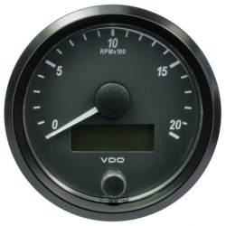 10 Pieces VDO SingleViu Tachometer 2.000 RPM Black 80mm