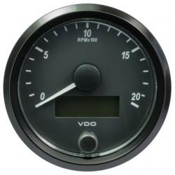 10 Stuks VDO SingleViu Toerenteller 2.000 RPM Zwart 80mm