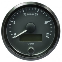 10 Pieces VDO SingleViu Tachometer 2.500 RPM Black 80mm