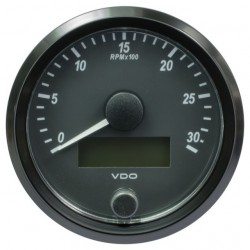 VDO SingleViu Tachometer 3.000 RPM Black 80mm