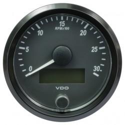 10 Stuks VDO SingleViu Toerenteller 3.000 RPM Zwart 80mm