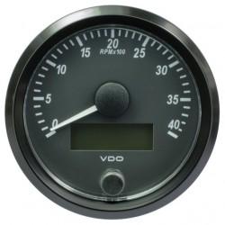 VDO SingleViu Toerenteller 4.000 RPM Zwart 80mm
