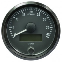 10 Pieces VDO SingleViu Tachometer 4.000 RPM Black 80mm