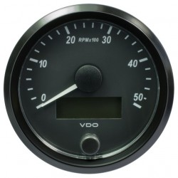 10 Pieces VDO SingleViu Tachometer 5.000 RPM Black 80mm