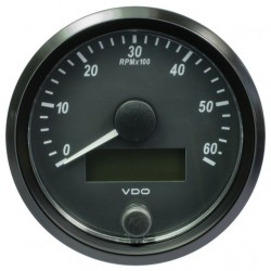 VDO SingleViu Tachometer 6.000 RPM Black 80mm