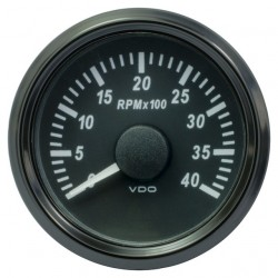 25 Pieces VDO SingleViu Tachometer 4.000 RPM Black 52mm
