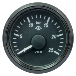 VDO SingleViu 1167 Getriebe Öldruck 25Bar Schwarz 52mm