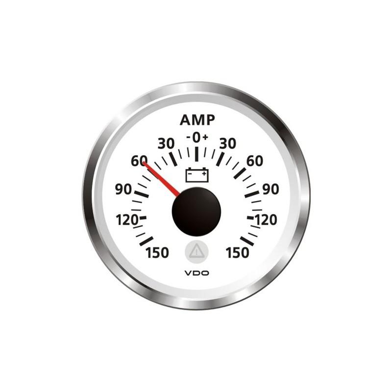 VDO ViewLine Ampèremeter 150A Wit 52mm