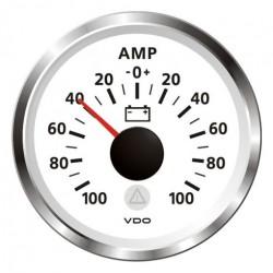 VDO ViewLine Ampèremeter 100A Wit 52mm