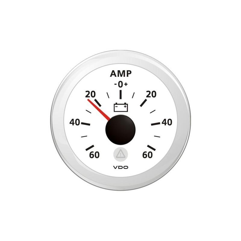 VDO ViewLine Ampèremeter 60A Wit 52mm