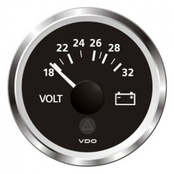 VDO ViewLine Voltmeter 18-32V Zwart 52mm