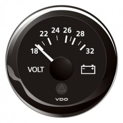 VDO ViewLine Voltmeter 18-32V Black 52 mm