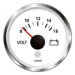 VDO ViewLine Voltmeter 8-16V Wit 52mm