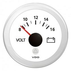 VDO ViewLine Voltmeter 8-16V Weiß 52 mm