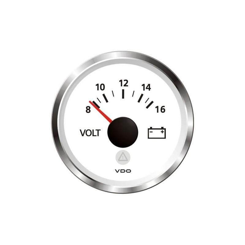 VDO ViewLine Voltmeter 8-16V Wit 52mm
