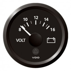 VDO ViewLine Voltmeter 8-16V Zwart 52mm