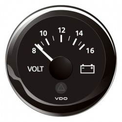 VDO ViewLine Voltmeter 8-16V Black 52 mm