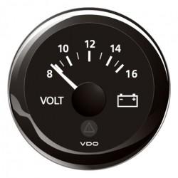 VDO ViewLine Voltmeter 8-16V Schwarz 52 mm