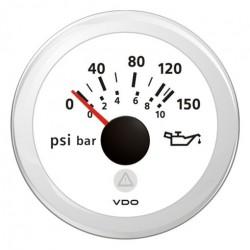 VDO ViewLine Engine Oil Pressure 150PSI White 52mm