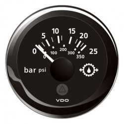 VDO ViewLine Gear Oil Pressure 25Bar Black 52mm
