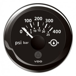 VDO ViewLine Gear Oil Pressure 400PSI Black 52mm