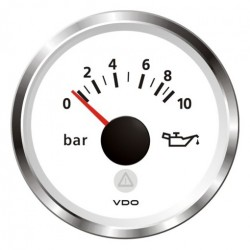 VDO ViewLine Engine Oil Pressure 10Bar White 52mm