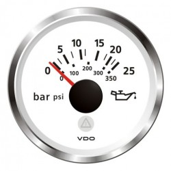 VDO ViewLine Engine Oil Pressure 25Bar White 52mm