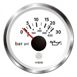 VDO ViewLine Engine Oil Pressure 30Bar White 52mm