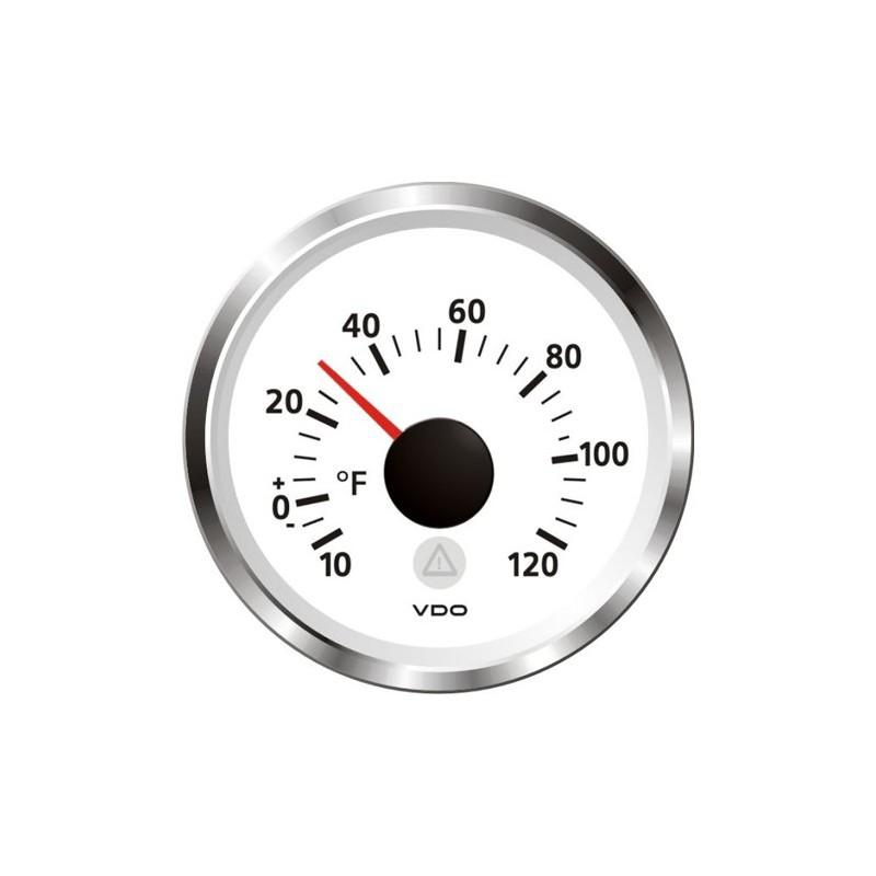 VDO ViewLine Outside Temperature 120°F White 52mm on diesel tachometer wiring diagrams, 1969 skylark wiring diagrams, teleflex gauges wiring diagrams, vdo volt gauge wiring, vdo water gauge sensor,