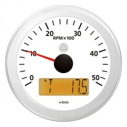 VDO ViewLine Tachometer 5.000 RPM White 85mm