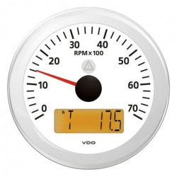VDO ViewLine Tachometer 7.000 RPM White 85mm