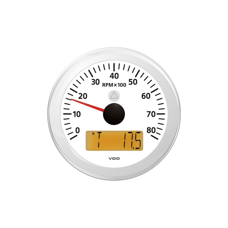 VDO ViewLine Tachometer 8.000 RPM White 85mm