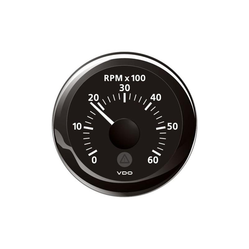 VDO ViewLine Toerenteller 6.000 RPM Zwart 52mm