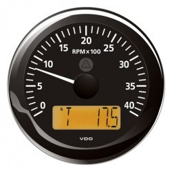 VDO ViewLine Tachometer 4.000 RPM Black 85mm