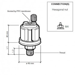 VDO Pressure sender 0-16 Bar - M14