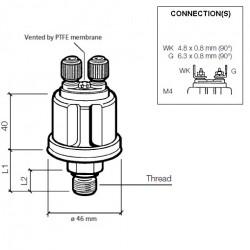 VDO Druksensor 0-25 Bar - 1/8-27 NPTF