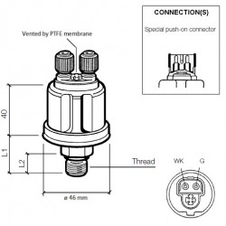 VDO Druksensor 0-10 Bar - M12