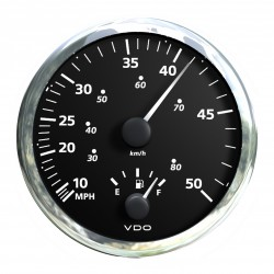 VDO ViewLine Combi Speed and Fuel level Black 110mm