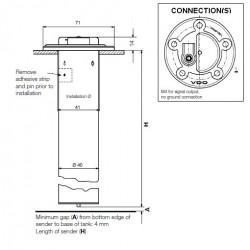 VDO Ø54mm Fuel tubular sender 270mm