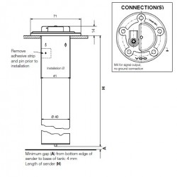 VDO Ø54mm Fuel tubular sender 300mm